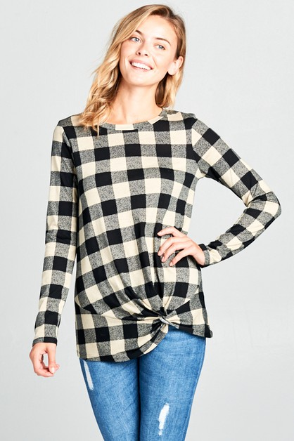 COTTON TENCEL PLAID TWIST BOTTOM TOP - orangeshine.com