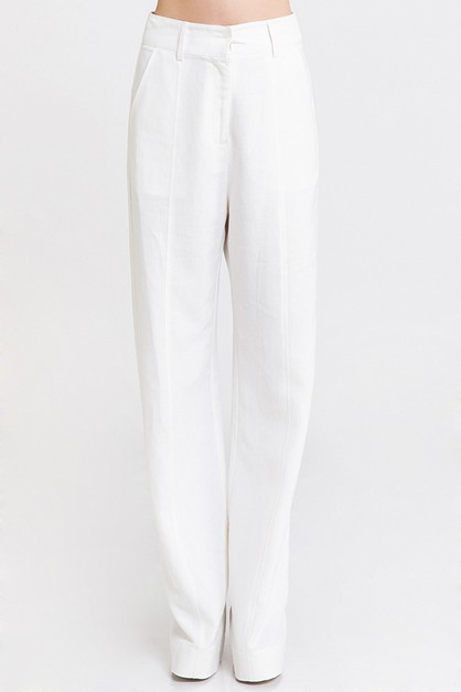 SOLID WIDE LEG PANTS WITH SIDE POCKE - orangeshine.com