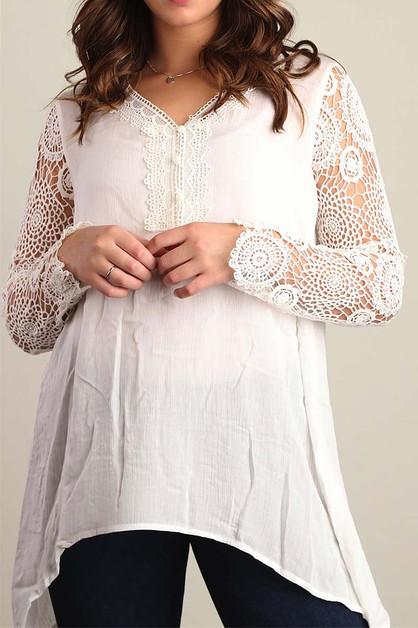 CROCHET LACE SLEEVE PLUS TUNIC TOP - orangeshine.com