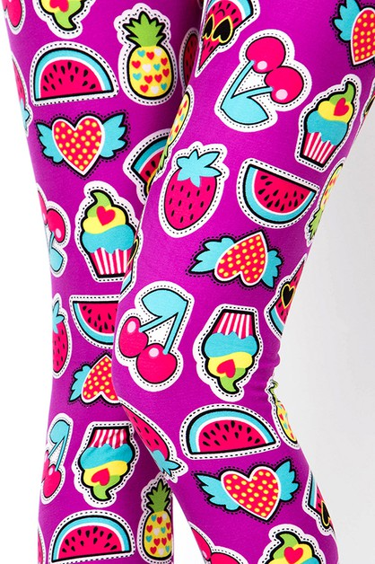 CHERRY CAKE WATERMELON PRINT LEGGING - orangeshine.com