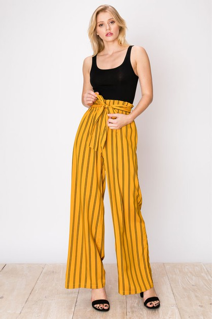 MUSTARD WIDE LEG STRIPE PRINT PANTS - orangeshine.com