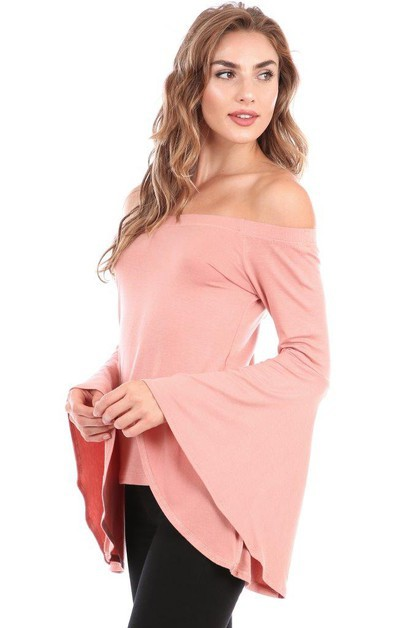 Bell Sleeve Off Shoulder Boho Top - orangeshine.com