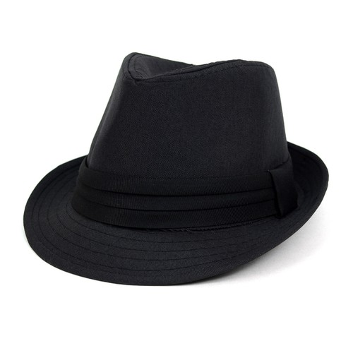Fall-Winter Solid Black Trilby Fedor - orangeshine.com