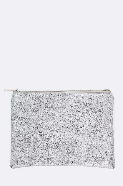 Metallic Textured Soft Pouch - orangeshine.com