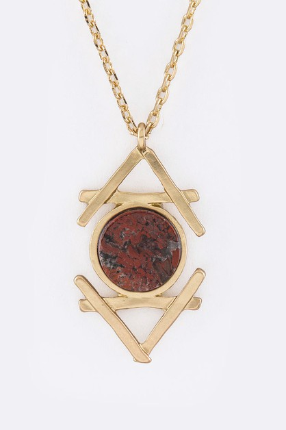 Pave Stone Pendant Necklace - orangeshine.com