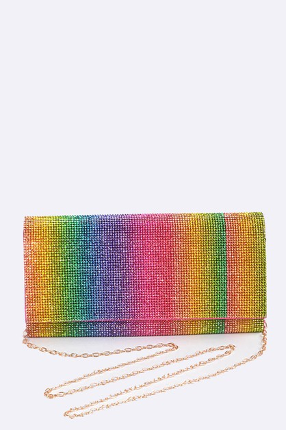 Rainbow Color Rhinestone Clutch - orangeshine.com