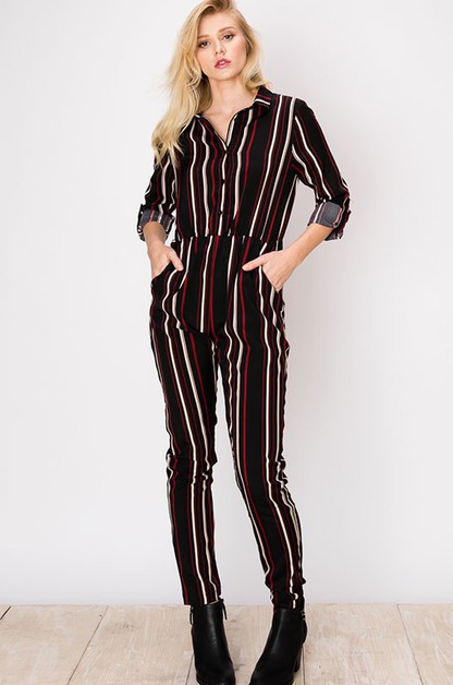 MULTI STRIPE LONG SLEEVE JUMPSUIT - orangeshine.com