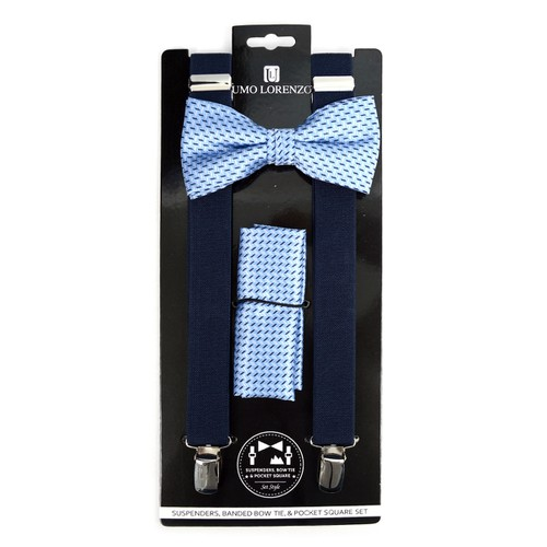 3pc Men Suspender Bow Tie Hanky - orangeshine.com