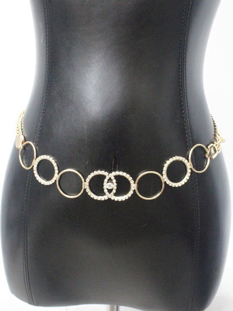 RHINESTONE CIRCLE METAL CHAIN BELT - orangeshine.com