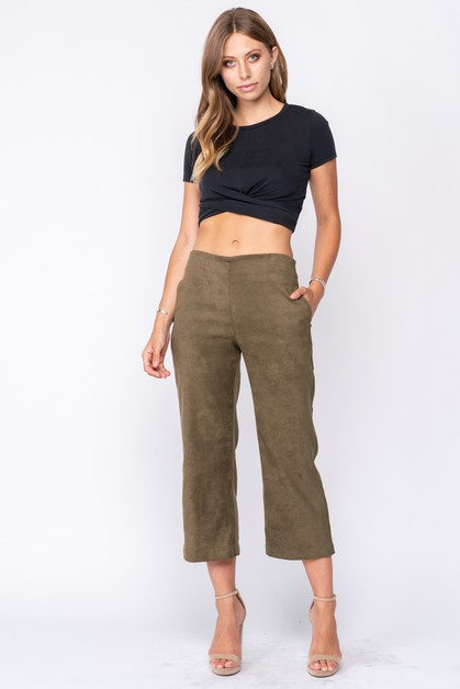 SUEDE CROPPED PANTS - orangeshine.com