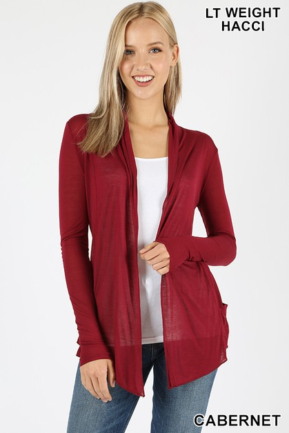 LONG SLEEVE WATERFALL DRAPE CARDIGAN - orangeshine.com
