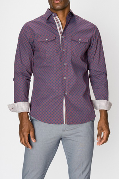 Printed Long Sleeve Button Up Shirt - orangeshine.com
