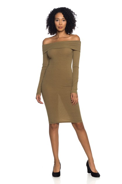 Ribbed Off Shoulder Dress - orangeshine.com