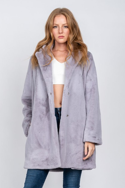 LONG FUR COAT WITH COLLAR - orangeshine.com