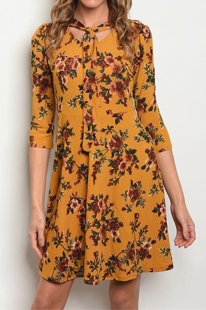 KNIT FLORAL NECK TIE DETAIL DRESS - orangeshine.com
