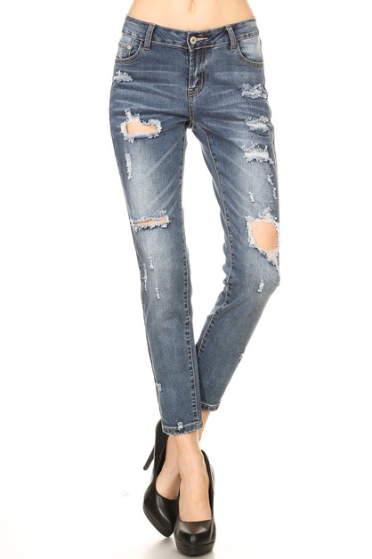 Mid Rise Ripped Stretch Skinny Jeans - orangeshine.com