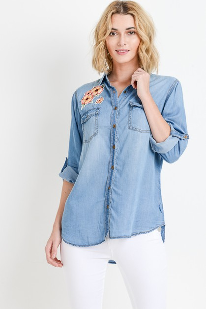 FLOWER PATCHED TENCEL SHIRT - orangeshine.com