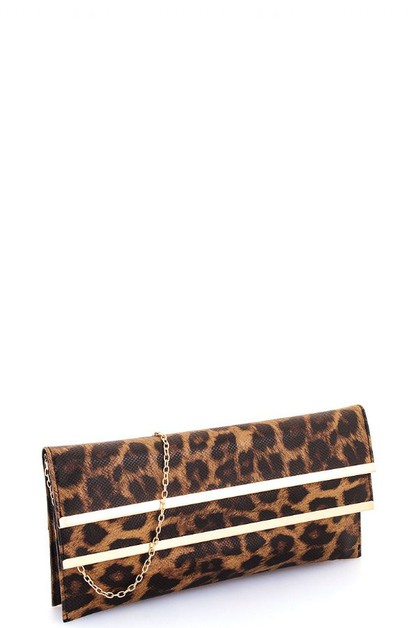 Modern Leopard Double Flap Clutch - orangeshine.com