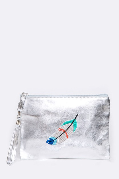 Feather Patch Metallic Soft Wristlet - orangeshine.com
