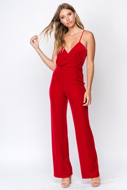 VELVET OPEN BACK JUMPSUIT - orangeshine.com