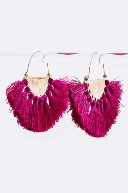 Tassel Fan Hoop Earrings - orangeshine.com