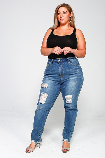 Plus Size High Waist Distressed jean - orangeshine.com