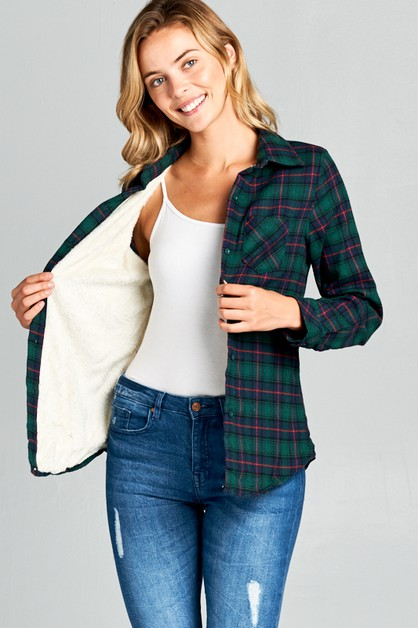 FUR LINING LONG SLEEVE PLAID SHIRTS - orangeshine.com
