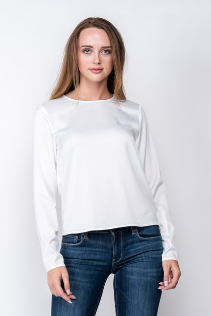 SILKY LONG SLEEVE TOP W KEYHOLE BACK - orangeshine.com
