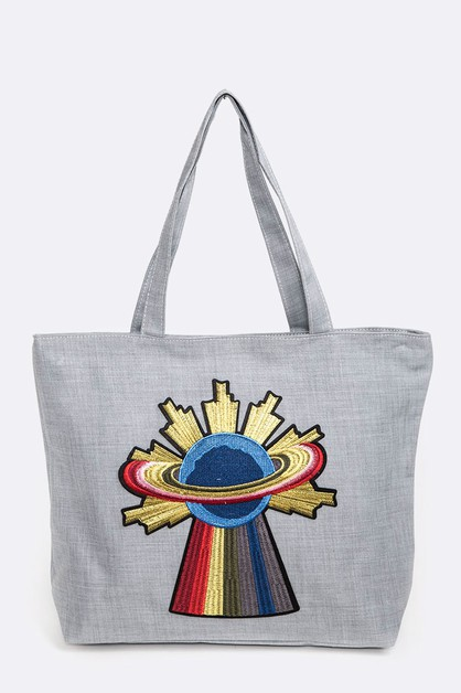 UFO Embroidered Patch Zipper Tote - orangeshine.com