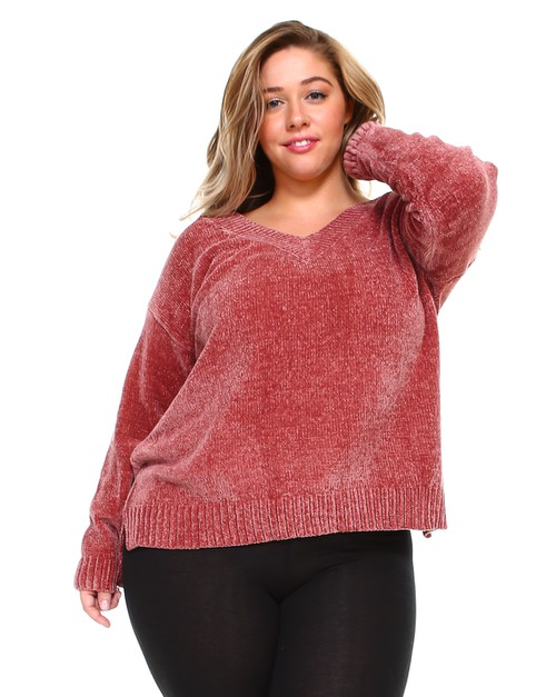 Chenille Plus Size Knit Sweater  - orangeshine.com