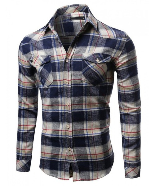Mens Flannel Button Up Shirt - orangeshine.com