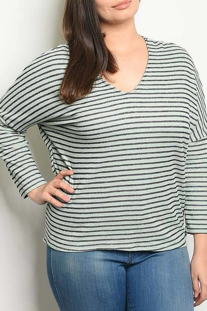 LOOSE FIT DROP SHOULDER STRIPE TOP - orangeshine.com
