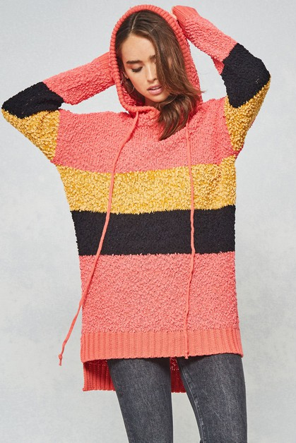 Color-Block Hoodie Tunic Sweater - orangeshine.com