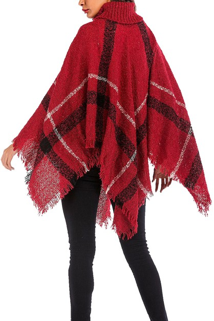 Button Accent Plaid Pattern Poncho - orangeshine.com