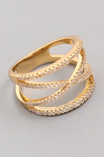 CZ Gold Plated Multi Row Ring Band - orangeshine.com