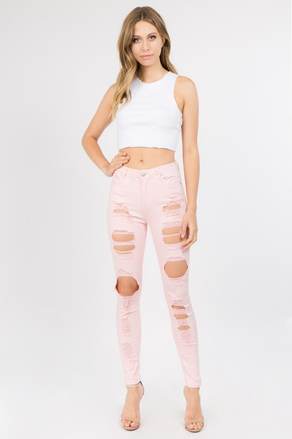 HIGH RISE DESTROYED DENIM JEANS - orangeshine.com