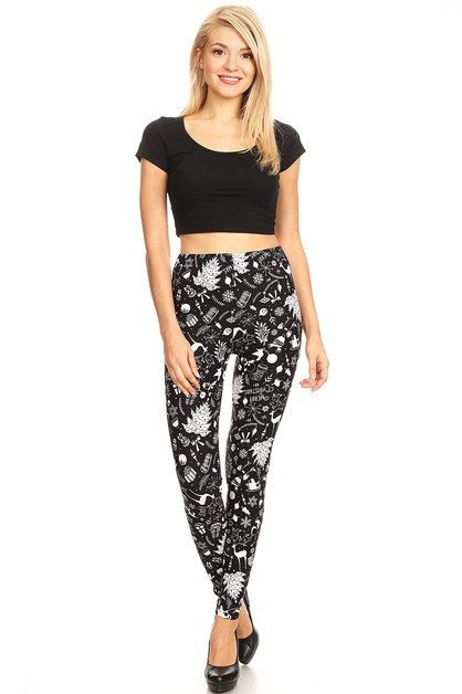 Buttery Soft Christmas Print Legging - orangeshine.com