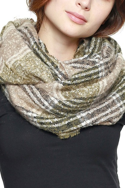 SOFT PLAID INFINITY SCARF - orangeshine.com