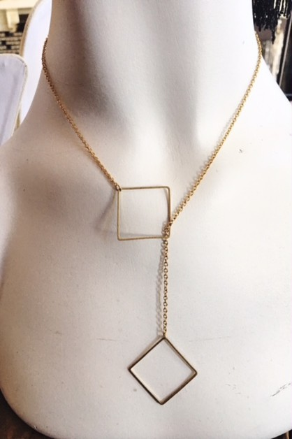 Raw brass square lariat - orangeshine.com