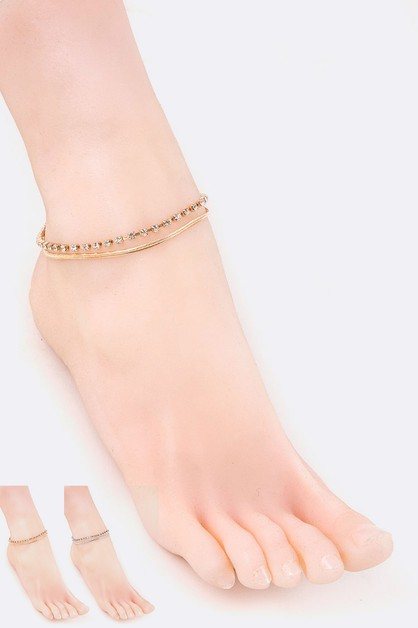 Rhinestone Layer Anklet Set - orangeshine.com