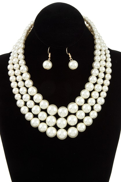 TRIPLE ROW PEARL NECKLACE SET  - orangeshine.com