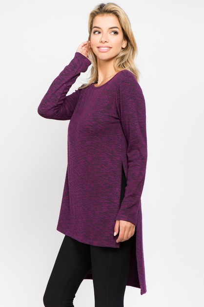 Space-Dye Knit Side Slit Tunic Top - orangeshine.com