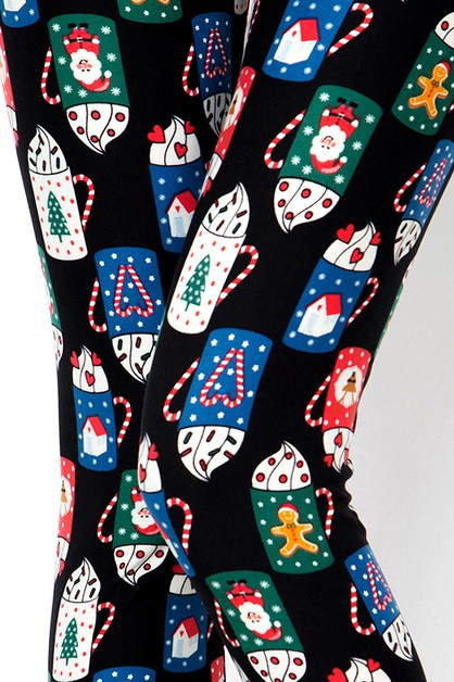 CHRISTMAS MUG PRINT LEGGINGS - orangeshine.com