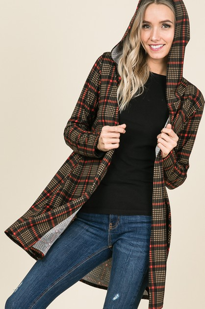 LONG SLEEVE PLAID HOODED CARDIGAN - orangeshine.com