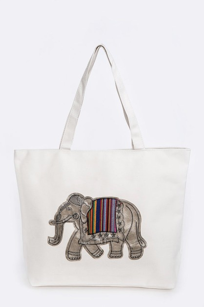 Elephant Iconic Fashion Zipper Tote - orangeshine.com