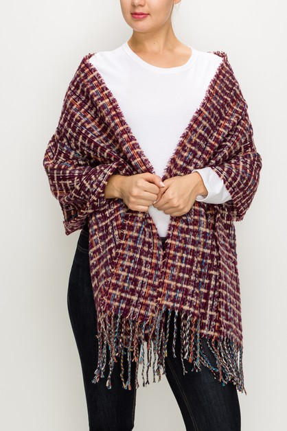Multi-colored Plaid Fringed Scarf  - orangeshine.com
