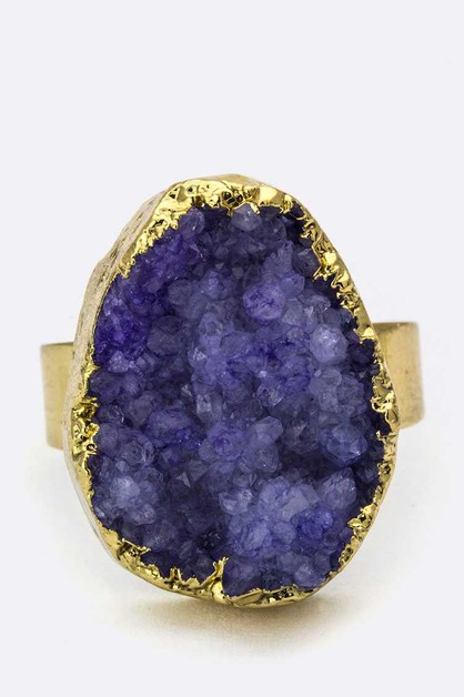 Druzy Adjustable Ring - orangeshine.com