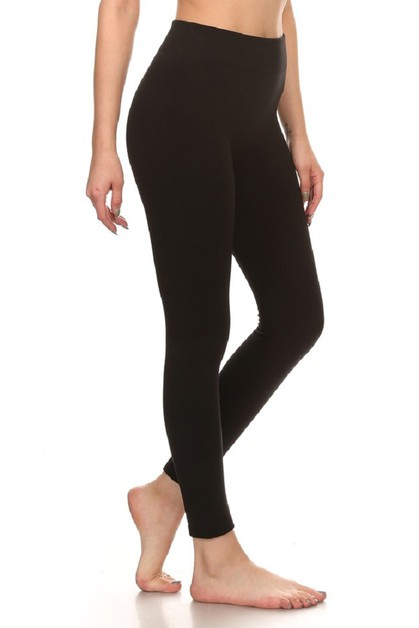 Thick Solid Fleece Lined Leggings  - orangeshine.com