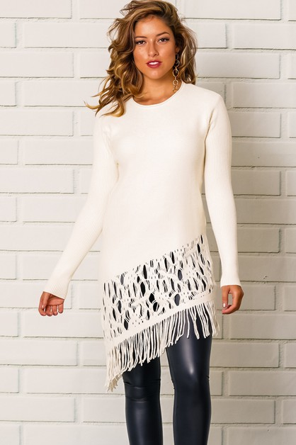 ASYMMETRICAL FRINGE HEM LONG SLEEVE - orangeshine.com