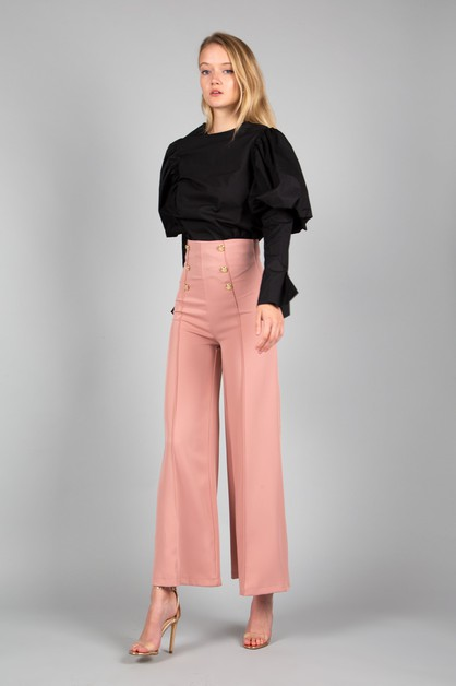 Wide leg 6-button front pants - orangeshine.com